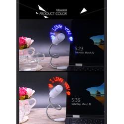 Quạt USB tạo chữ đèn led siêu đẹp - tặng 1 đèn led USB siêu sáng