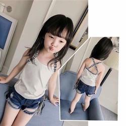 Áo thun kiểu 2 dây chéo lưng siêu xinh cho bé gái