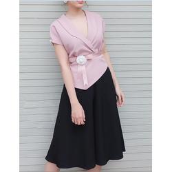 S624H set quần ống suông áo hồng như hình