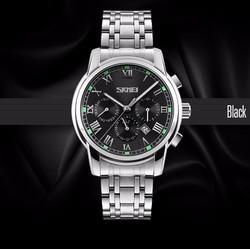Đồng hồ nam - Đồng hồ nam SKMEI 9121 6 kim MẶT ĐEN