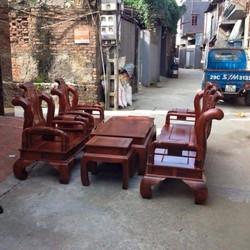Bộ bàn ghế Tần Lùn Cột 10 gỗ Hương Vân