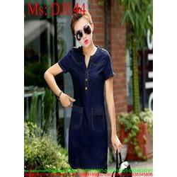 Đầm jean nữ công sở tay con phối túi và cài nút sành điệu DJE44
