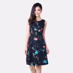 Đầm xoè Họa Tiết In Hoa Thời Trang Eden- D169