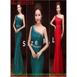 Đầm maxi lệch vai xinh đẹp chất liệu vải hoa sang trọng DDH516