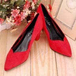 Giày Cao Gót XK Đế Vuông Màu Đỏ