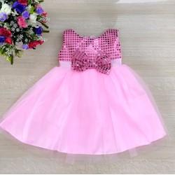Đầm CC kim sa nhẹ đính nơ màu hồng