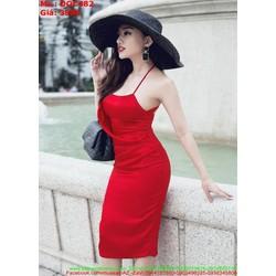 Đầm ôm 2 dây cổ yếm cách điệu sang trong thời trang DOC482