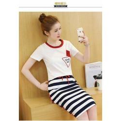 Set váy sọc trắng đen+ áo trắng cổ viền màu in hình 3d siêu cute