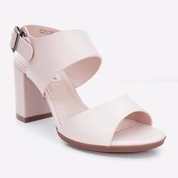 Giày xăng đan nữ gót vuông quai ngang màu hồng