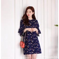 Đầm suôn hoa tay loe thời trang