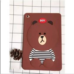 Ốp lưng iPad 2-3-4 gấu Brown dẻo nổi