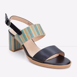 Sandals gót vuông quai ngang phối sọc nhiều màu 794