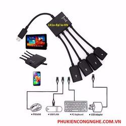 MICRO USB HUB OTG 4 in 1 kết nối điện thoại, tablet Android