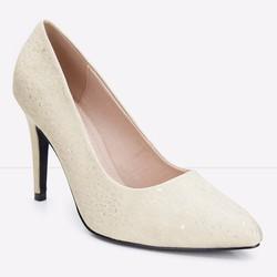 Giày cao gót mũi nhọn chấm bi trẻ trung 127 màu vàng