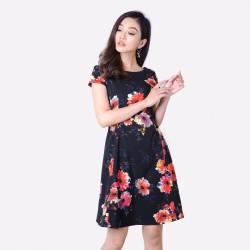 Đầm Xòe Họa Tiết In Hoa Thời Trang Eden- D168
