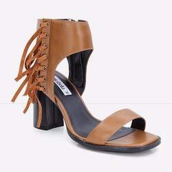 Sandals gót vuông quai ngang cổ cao phối tua rua 788 màu nâu