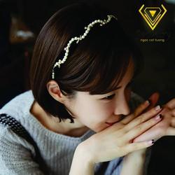 Cài tóc vải xoắn, ngọc trai Korea