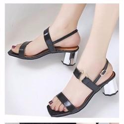 giày gót vàng quai ngang đính khoen