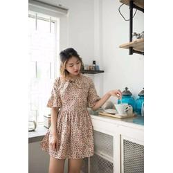 Đầm xòe vải ka tê hoa văn nhỏ, đơn giản thanh lich