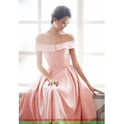 Đầm dạ hội trễ vai sắc hồng dịu dàng nữ tính sDMX85