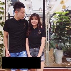 Áo thun couple cổ nhỏ màu đen có nút cực cá tính