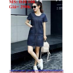 Đầm jean nữ phom suông ngắn tay kiểu dáng đơn giản phong cách DJE108