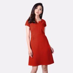 Đầm Suông Cổ Xẻ V Phối Túi Thời Trang Eden - D170