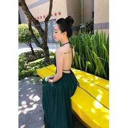 Đầm maxi hở lưng cổ yếm sexy