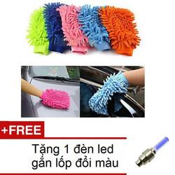 Găng tay chuyên dụng lau rửa xe hơi, ô tô đa năng TI241 +1 đèn led