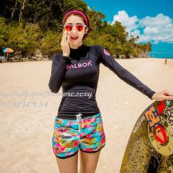 Đồ bơi dài tay Hàn Quốc áo đen short nhiều màu