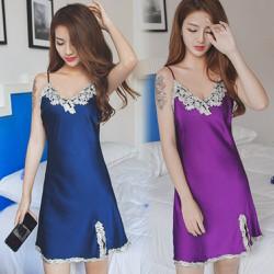 Đầm ngủ phi bóng hoa văn , xẻ tà tôn lên vẻ quyến rũ của bạn 160