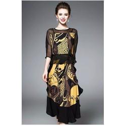 Hàng nhập - Sét áo + chân váy in họa tiết vàng