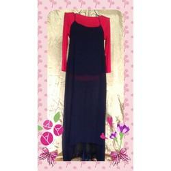 Đầm dài Thái Lan xanh đen hai dây vạt trước ngắn sau dài