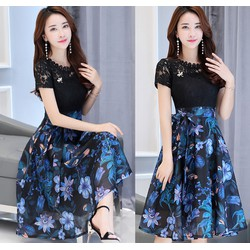 Đầm xòe phối ren chân váy hoa cao cấp