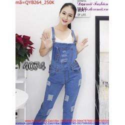 Quần yếm Jean nữ dài rách phong cách bụi bẩm cá tính QYB264