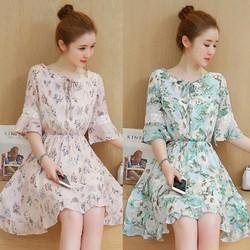 Đầm xòe họa tiết cao cấp - hàng nhập Quảng Châu