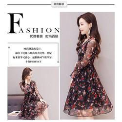 Đầm Xòe Voan Hoa Hồng Xinh Xắn