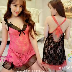 Đầm ngủ hai dây phối ren hở lưng sexy cho nàng thêm quyến rủ-119