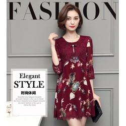 Đầm suông ren hoa hàng nhập TB0365