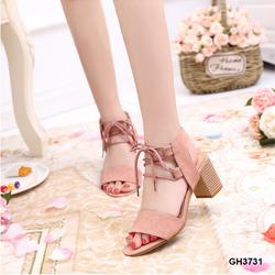 Giày sandal cao gót đế vuông cột dây quyến rũ