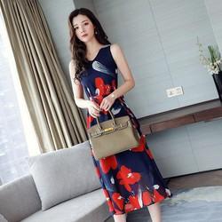 Đầm Maxi Voan Hoa Cổ V Cao Cấp