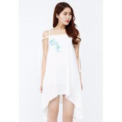 Đầm xòe hai dây Amun đính hoa màu trắng  DX194-TRANG