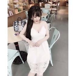 Đầm xoè ren 2 dây cup ngực hàng thiết kế