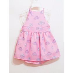 Đầm voan giấy cổ yếm màu hồng ngọt ngào cho bé đi biển đi chơi