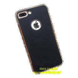 Case iPhone 5-5s-6-6plus-7-7plus giả da viền vàng