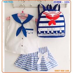 Sét váy thủy thủ kèm balo xinh xắn cho bé ngày hè
