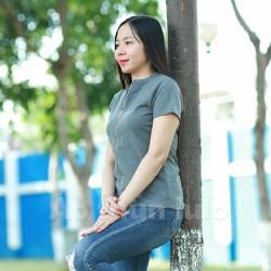 Áo thun nữ cổ tròn dây kéo dài - Tay ngắn - Xám đen
