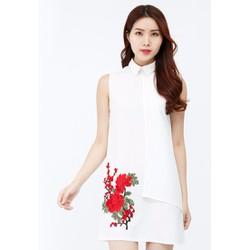 Đầm suông Amun sát nách đính hoa màu trắng DMI184-TRANG