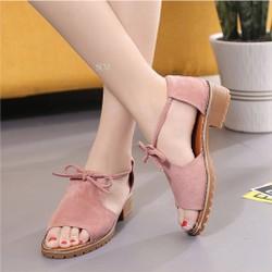 Giày sandal gót vuông cột nơ - màu:đen,hồng,da | giày sandal nữ