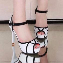 Hàng cao cấp - Giày cao gót phối màu trắng đen